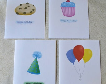 Birthday Card Set of 4 - Party Hat, Cupcake, Cookie, & Balloons