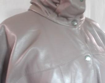 Vintage leather jacket 80s Taupe Leather Jacket size small medium