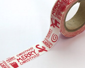 Red Merry Christmas Washi Tape 15mm x 10m
