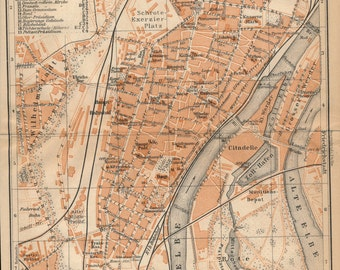 1910 Magdeburg Germany Antique Map