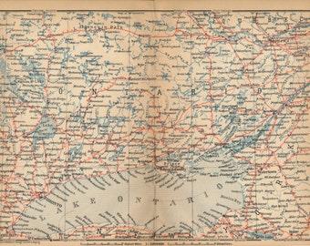 1907 Lake Ontario Antique Map, Ontario Canada