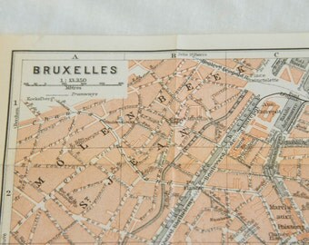 1910 Brussels Belgium Antique Map