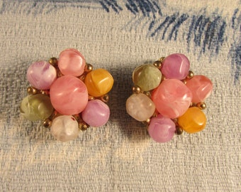 1960s Kramer swirl pastel-coloured lucite flower clip-on earrings