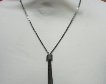 Vintage metal-tone chain necklace with tasselled chain drop