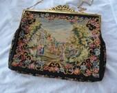 Ed Robinson Austrian Petit Point Purse Tapestry Scenic Handbag 1940s