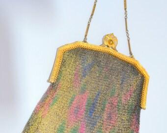 Antique Dresden Mesh Whiting Davis Handbag Floral Purse 24K Gold Plate Embossed Frame Art Deco Fashion
