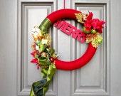 "Burgundy, Gold and Green ""MERRY"" Christmas Yarn Wreath"