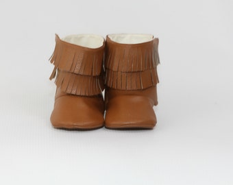 Baby Boot Baby Girl Boot Toddler Girl Boot Soft Sole Boot Fringe Boot Brown Faux Leather Boot Baby Girl Boot Moccasin Boot Hobo Style Boot