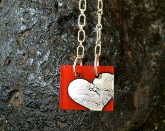 Fused in Glass Silver Foil Heart and Sterling Silver Necklace 2
