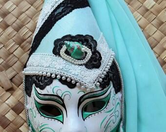 Gothic Renaissance Masquerade Mask with Aqua Veil