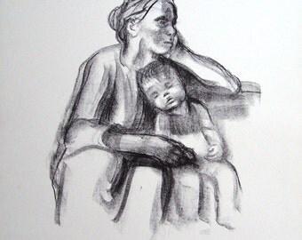 Vintage art print poster litho NOS Kathe Kollwitz Slumber mother & child madonna