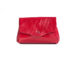 Red leather wallet , women leather wallet , classic wallet , lifetime Leather wallet , Women Leather Purse - FLORAW
