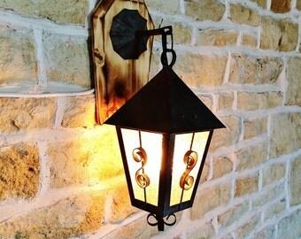 rustic lantern, wall lantern, hanging lantern, vintage lantern, vintage wall sconce, housewarming gift, home decor gift, metal lantern