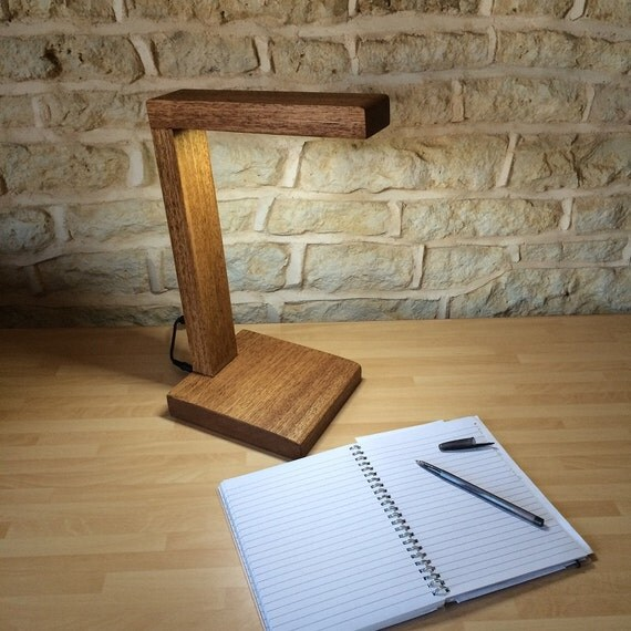 Modern desk light table bedside lamp hand crafted wood for Crafting wooden lamps