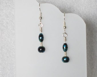 Earrings with Blue and Green Swirl Beads