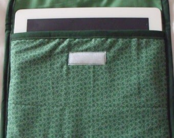 """tablet case, E reader, universal cover, I pad sleeve for larger devices, internal size 10"""" L x 8.5"""" D green foliage fabric"""