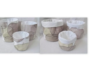 quilted baskets, storage buckets, graduated quilted fabric storage bins, fabric baskets, grey apple fabric containers,