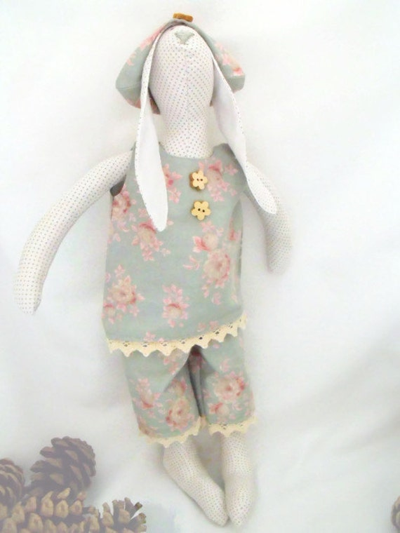 """Tilda bunny, plush rag doll, collectable doll, rabbit doll wearing a green rose floral outfit,  home or nursery decor 14"""" tall"""