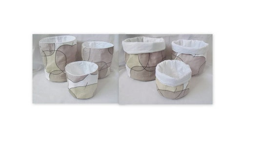 storage buckets, graduated quilted fabric storage bins, quilted baskets, fabric baskets, grey apple fabric containers,