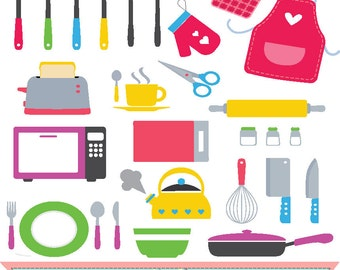 Kitchen utensils clip art set   ,digital illustration , web graphic , instant download