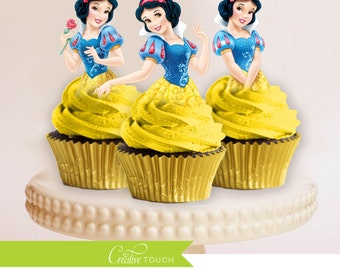 Snow White Cupcake Toppers, Princess Snow White, Disney Princess, Snow White Birthday, Snow White Party, Snow White Cake Topper, Decoration