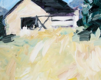 Barn in Field - Original Acrylic Painting by Mary Baude
