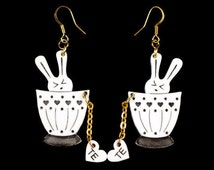 Bunny Earrings, Sweet Kawaii Design, Most Popular Item, Cute Tea Cup Earrings, Bunny Jewelry, Handmade Bunny Earrings, Acrylic Bunny