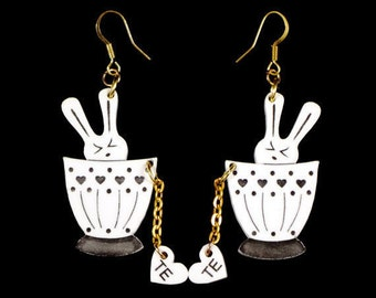 Bunny Earrings, Sweet Kawaii Design, Most Popular Item, Cute Tea Cup Earrings, Bunny Jewelry, Handmade Bunny Earrings, Acrylic Bunny