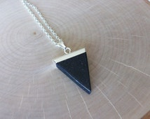 Blue Sandstone Gemstone Point & Silver Chain Genuine Blue Sandstone Triangle Necklace Unique Sandstone Triangle Silver Chain Layering T0013