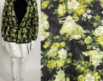 80s Pagoda floral printed lame quilted Chinese jacket
