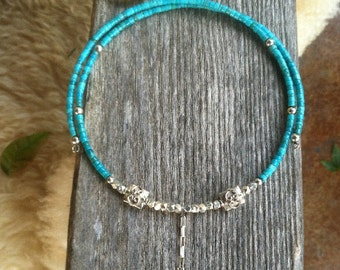 Princessa Choker in Turquoise Heishi with Sterling Embellishments