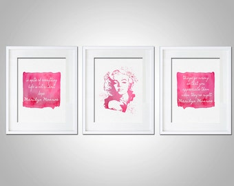 Watercolor Art Print Marilyn Monroe Quote Set of 3 Modern 5x7 8x10 11x14 Wall Dorm Decor Illustration Gift Typography Marilyn Quote Gift