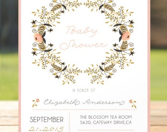 Baby shower invitation, floral , rustic , watercolor