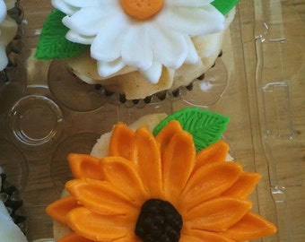 One (1)  Dozen Daisy Cupcake Toppers