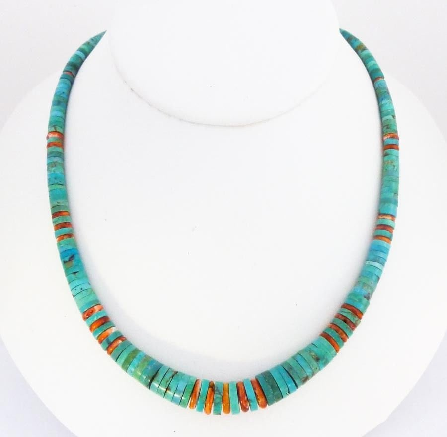 navajo american turquoise spiny oyster beaded necklace