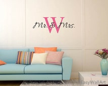 Mr & Mrs Wall Decal - Mr and Mrs Wall Decor - Mr and Mrs Wall Art, Custom Monogram - Initial Wall Art Sticker for Bedroom,  Living Room #C67