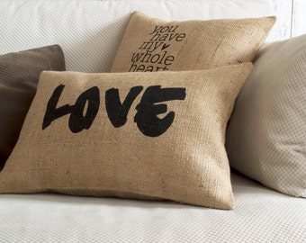 love pillow, decorative pillow, love,pillow cover, burlap pillow, home decor, wedding gift, anniversary gift, valentine gift, wedding pillow