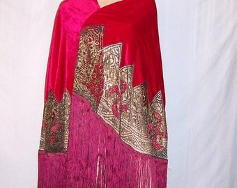 1920's Cerise-Colored Silk Velvet Shawl with Metallic Lace and Appliques