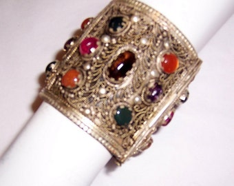 Large Ethnic Cuff Bracelet with Filigree Work and Semi-Precious Stones