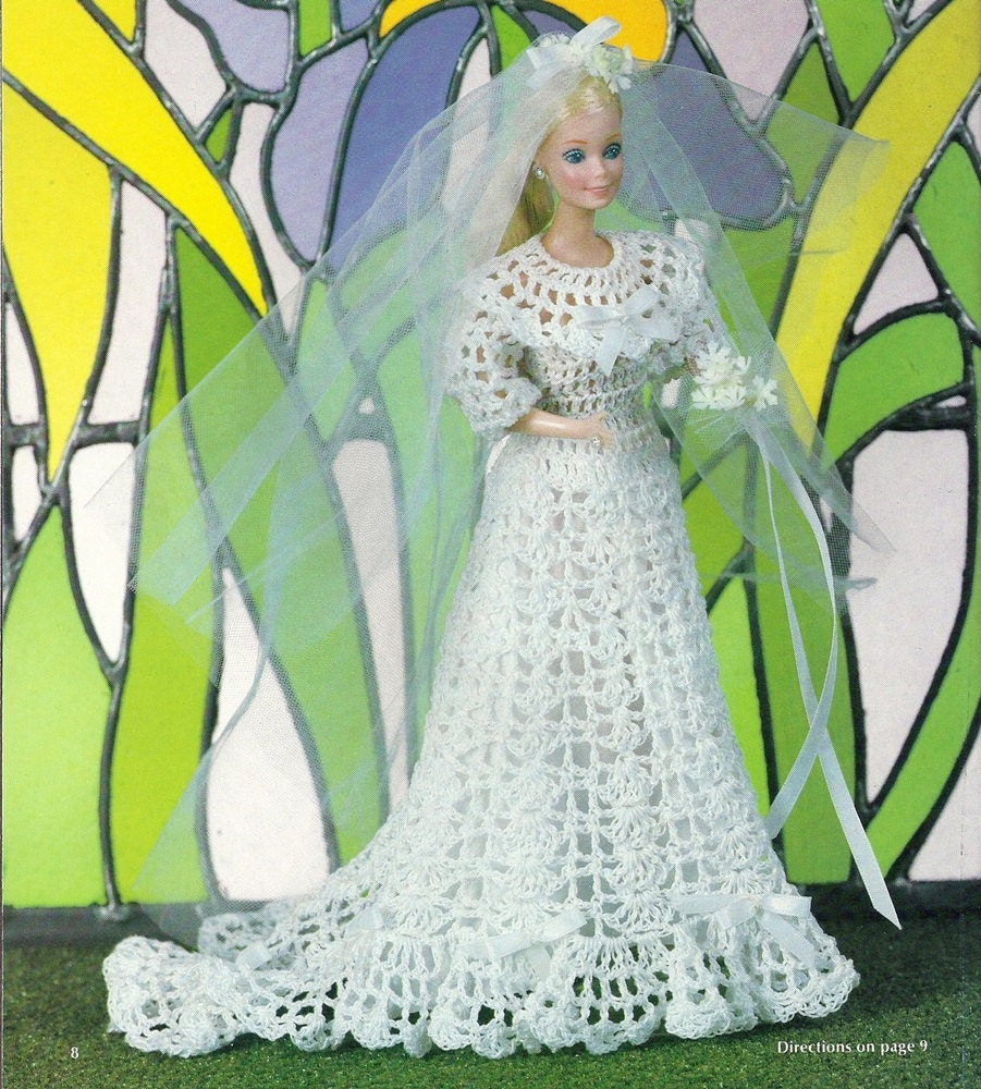 Barbie Doll Wedding Dress Vintage Crochet Pattern Bridal Gown