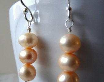 Peach Pearl earrings - natural Pearls - Pearl wedding anniversary - peach bridesmaid - 30th anniversary - genuine Pearl - peach wedding - UK