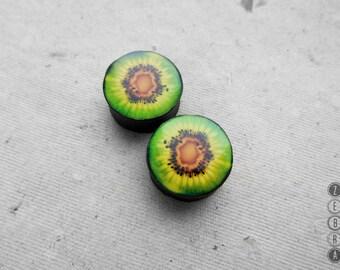 "Pair gauges Kiwi fruit image ear wooden plugs,4,5,8,10,12,14,16,18,20,22,25-60mm;6g,4g,2g,0g,00g;1/4,5/16,3/8,1/2,9/16,5/8,3/4,7/8,1 1/4,1"""
