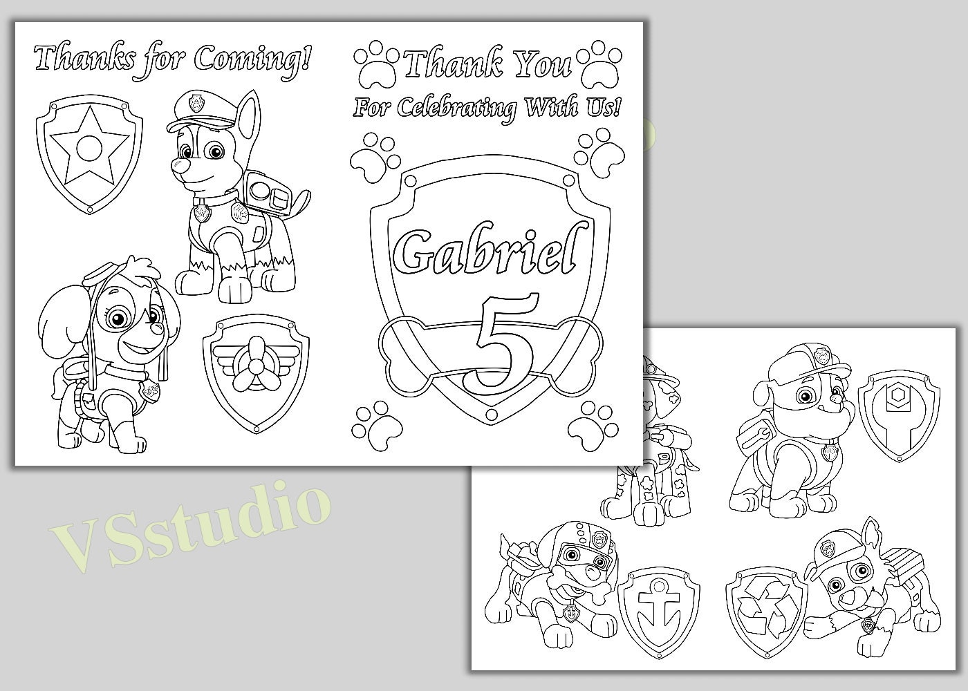 paw patrol birthday party thank you coloring pages activity
