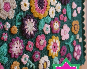 Crochet baby blanket PATTERN - Field of Flowers baby blanket - Floral afghan for newborn, Instant download in US and UK crochet terms