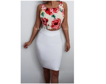 White Bodycon Midi Bandage Skirt Pencil Stretchy Fitted Mid Calf Length