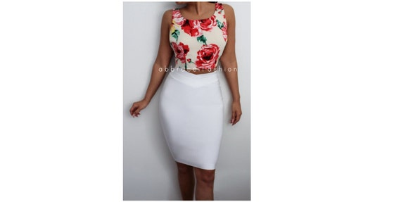 white bodycon midi bandage skirt pencil stretchy fitted mid