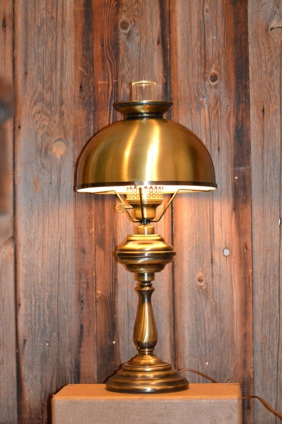 Vintage Brass Hurricane Table Lamp