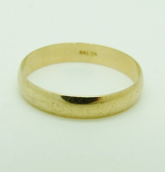 vintage 10k gold 4mm wedding band ring size 11 v by