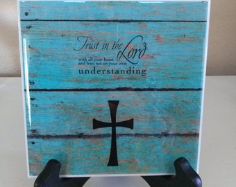 Trust In The Lord, Bible Verses, Bible Scripture, Turquoise Distressed Wood, Plaque, Pastor Gift, Gift For Her, Mothers Day Gift, Home Decor