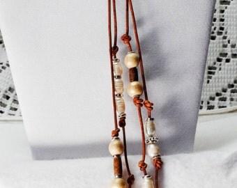 Red Aventurine leather wrap lariat necklace